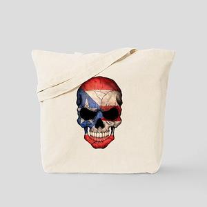 Puerto Rico Flag Skull Tote Bag