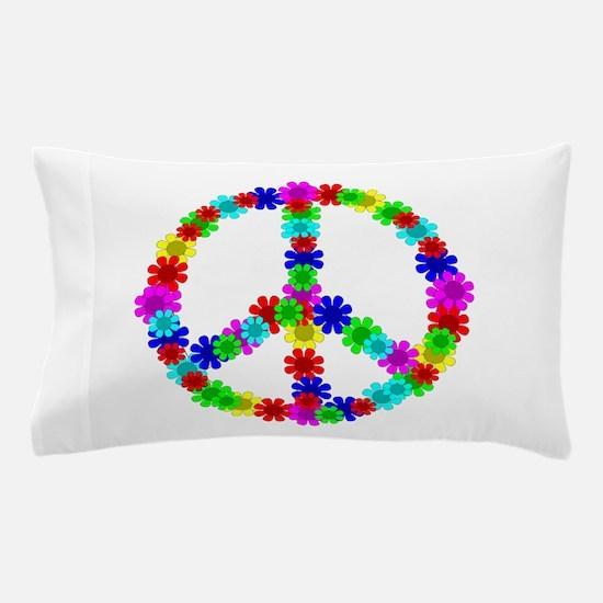1960's Hippie Flowers Peace Pillow Case