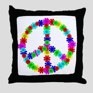 1960's Hippie Flowers Peace Throw Pillow