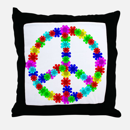 1960's Hippie Flowers Peace Throw Pillow