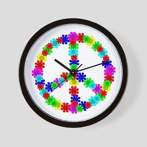 1960's Hippie Flowers Peace Wall Clock