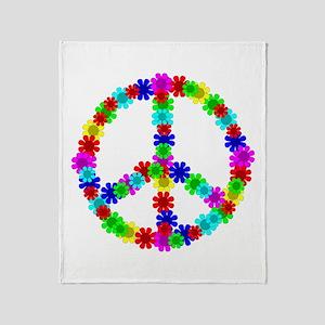 1960's Hippie Flowers Peace Throw Blanket