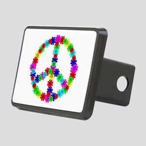1960's Hippie Flowers Peac Rectangular Hitch Cover