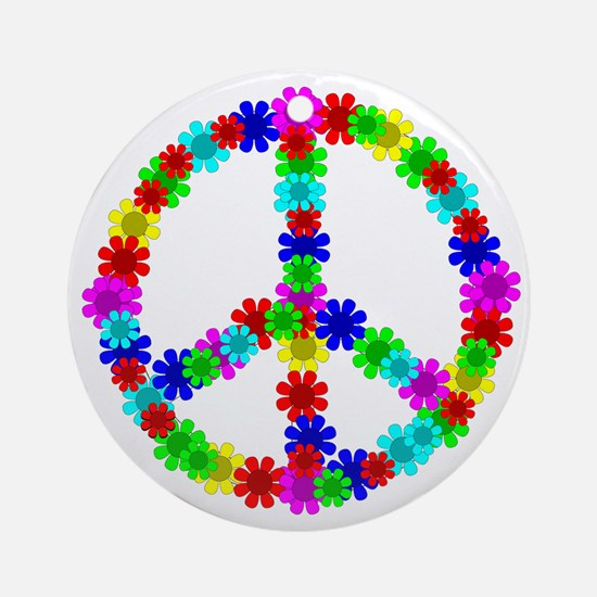 1960's Hippie Flowers Peace Ornament (Round)