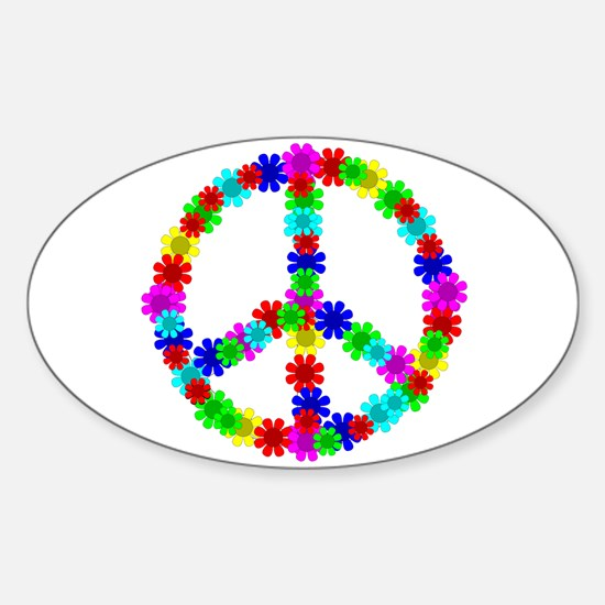 1960's Hippie Flowers Peace Sticker (Oval)