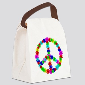 1960's Hippie Flowers Peace Canvas Lunch Bag
