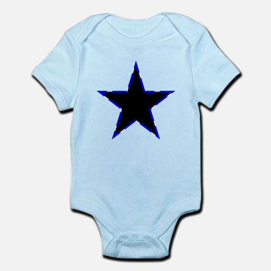 Dotted Blue Trim Black Star Body Suit