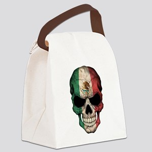 Mexican Flag Skull on Black Canvas Lunch Bag