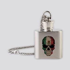 Mexican Flag Skull on Black Flask Necklace