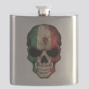 Mexican Flag Skull on Black Flask
