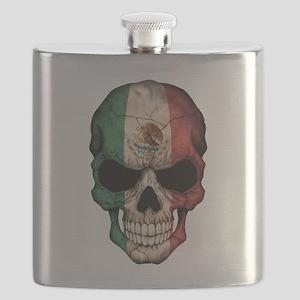 Mexican Flag Skull on Black Flask
