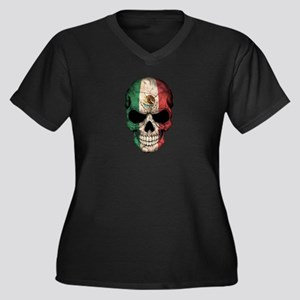 Mexican Flag Skull on Black Plus Size T-Shirt