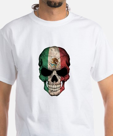 Mexican Flag Skull on Black T-Shirt