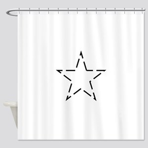 Dotted Line White Star Shower Curtain
