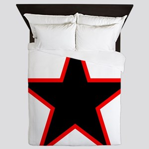 Red Trim Black Star Queen Duvet
