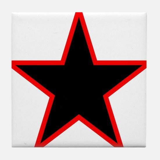 Red Trim Black Star Tile Coaster