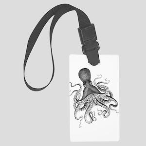 Black and White Vintage Wood Block Print Octopus L