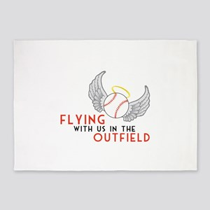 Flying With Us In The Outfield 5'x7'Area Rug