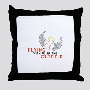 Flying With Us In The Outfield Throw Pillow