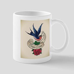 carpe diem bluebird tattoo style Mugs