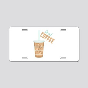Iced Coffee Aluminum License Plate