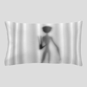 Grey Alien Silhouette Pillow Case