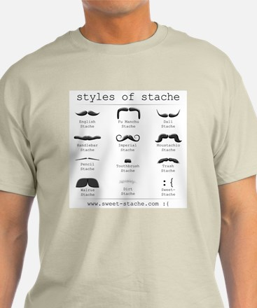 Styles of Stache Tee (Blue, Grey, or Natural)