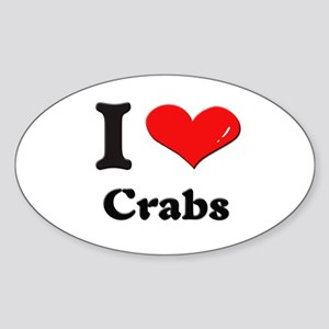 I love crabs Oval Sticker