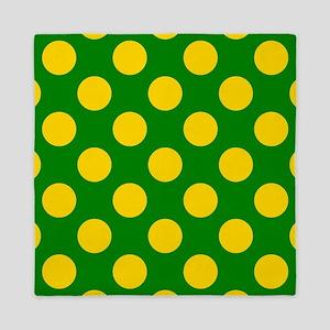 Grass green and yellow polkadots Queen Duvet