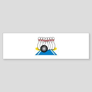 Bowling Ball & Pins Bumper Sticker