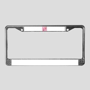 paris eiffel tower pink corset License Plate Frame