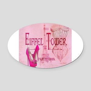 paris eiffel tower pink corset Oval Car Magnet