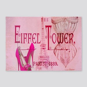 paris eiffel tower pink corset 5'x7'Area Rug