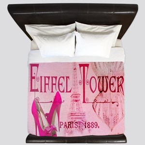 paris eiffel tower pink corset King Duvet