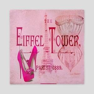 paris eiffel tower pink corset Queen Duvet