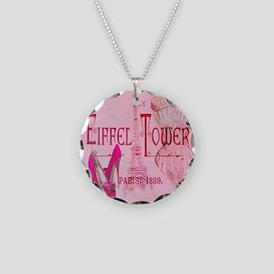paris eiffel tower pink corset Necklace Circle Cha