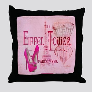 paris eiffel tower pink corset Throw Pillow