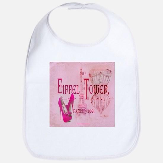paris eiffel tower pink corset Bib