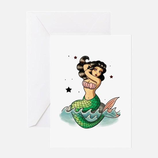 Old School Mermaid Greeting Cards