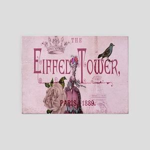 pink vintage chandelier paris eiffel tower 5'x7'Ar