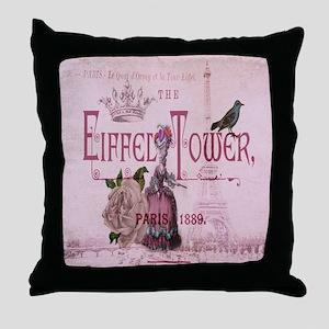 pink vintage chandelier paris eiffel tower Throw P