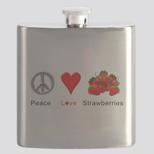 Peace Love Strawberries Flask