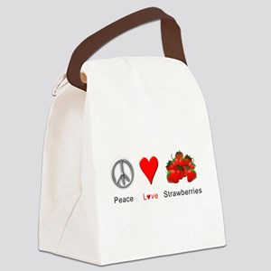 Peace Love Strawberries Canvas Lunch Bag