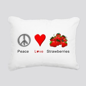 Peace Love Strawberries Rectangular Canvas Pillow