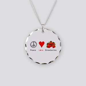 Peace Love Strawberries Necklace Circle Charm