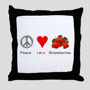 Peace Love Strawberries Throw Pillow