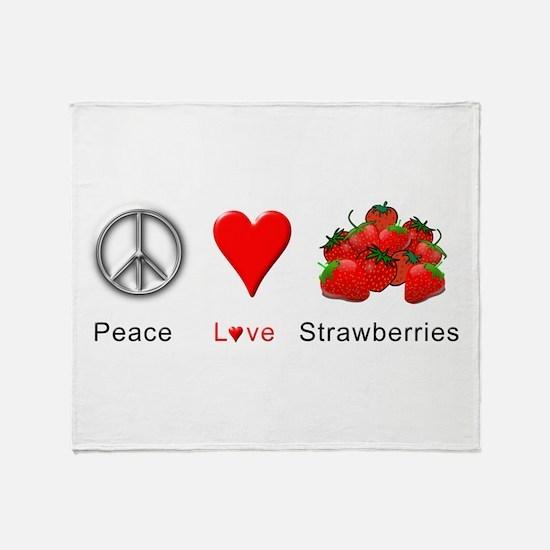 Peace Love Strawberries Throw Blanket