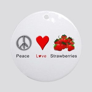 Peace Love Strawberries Ornament (Round)