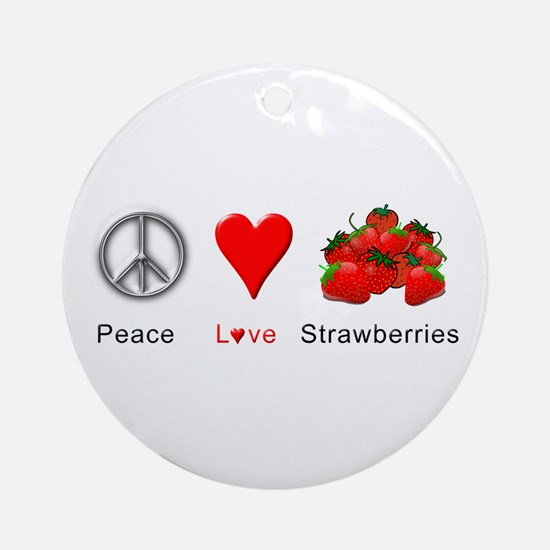 Peace Love Strawberries Ornament (Round)