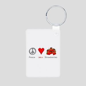 Peace Love Strawberries Aluminum Photo Keychain